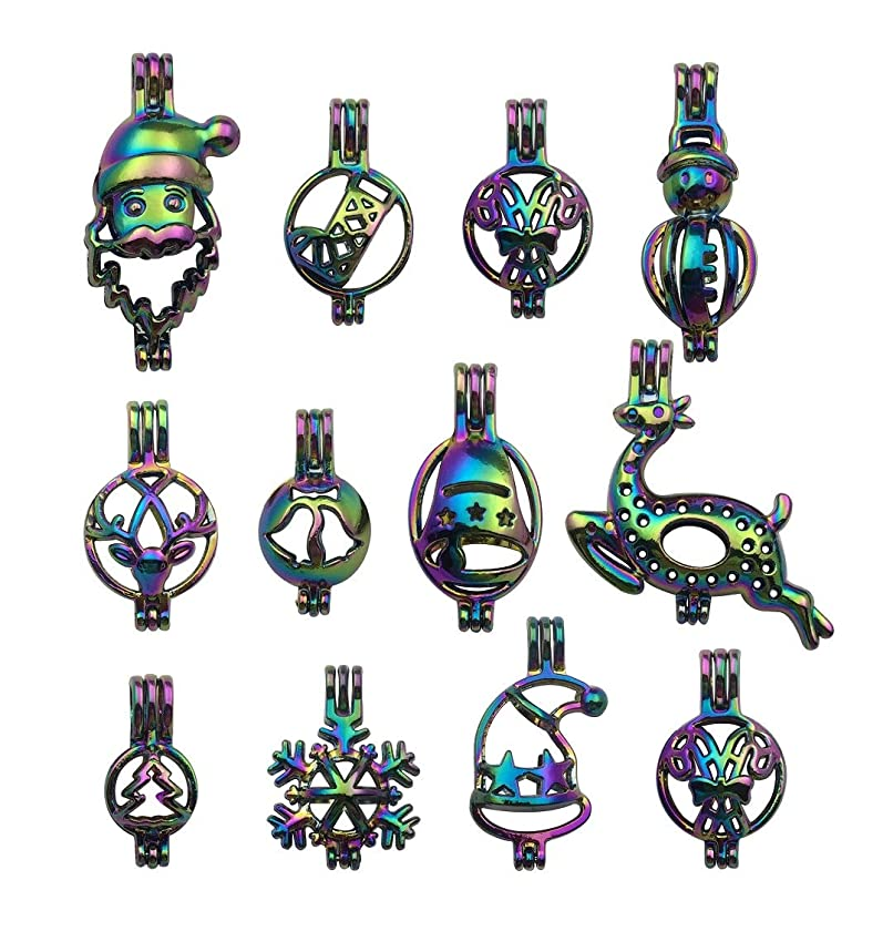 10pcs Mixed Shape Christmas Rainbow Pearl Cage Bead Cages Pendants for Jewelry Making/Aromatherapy Essential Oil Scent Diffuser Locket Pendant m227 (Mixed No Duplicate)