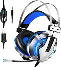 EKSA Stereo Gaming Headset for PS4, PC, Xbox One Controller, Noise Cancelling Over Ear Headphones with Mic, LED Light, Soft Memory Earmuffs for Laptop Mac Nintendo Switch Games,Blue