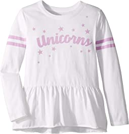 Super Soft Unicorn Print and Stars Peplum Long Sleeve Tee (Little Kids/Big Kids)