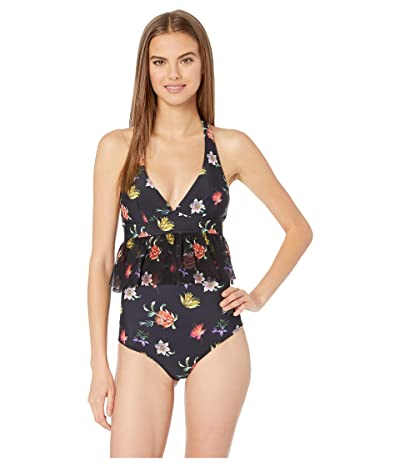 FUZZI Small Flower Tulle Print One-Piece Swimsuit (Nero) Women