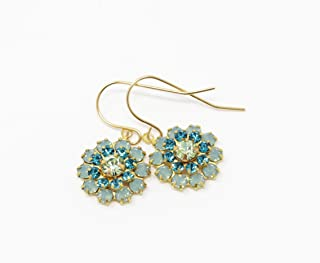 Vintage Swarovski Crystal Green and Blue Earrings