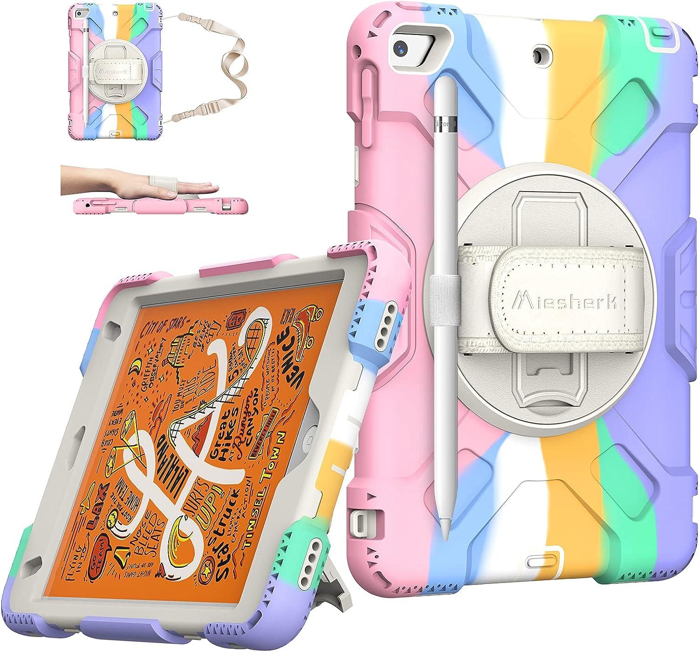 iPad Mini 5 Case 2019 - iPad Mini 4 Case Military Grade Silicone Shockproof Protective Cover for Kids iPad Mini 5th/ 4th Generation 7.9 Inch 2015 - W/ Stand + Handle + Shoulder Strap+ Pencil Holder