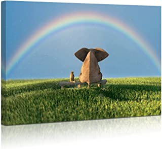 Visual Art Decor Contemporary Wall Art Elephant and Dog Sitting on Bench Appreciating A Rainbow Picture Gallery Wrap Ready to Hang Kid Room Nursery Wall Decoration (02 Nice Rainbow, 24