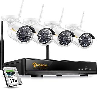 Anlapus 1080P Kit de Cámaras de Vigilancia WiFi 8CH H.265+ Grabador NVR Inalámbrico con 4 Cámara de Seguridad IP Exterior 1TB Disco Duro Visión Nocturna Detección de MovimientoP2P