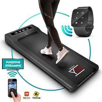 YM Tapis Roulant Elettrico Walking Pad Scrivania App KINOMAP e FITSHOW, Orologio Telecomando Watch Controller, Professionale Slim Piatto Bluetooth per Casa e Ufficio 1,5HP (Picco 2,5HP)