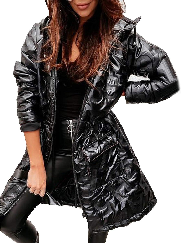 Plus Size Pocket Coats for Women Winter Warm Down Jackets Slim Fit Long Outwear Windbreaker Parka