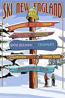 New England - Ski Areas Destinations Sign (24x36 Fine Art Giclee Gallery Print, Home Wall Decor Artwork Poster)