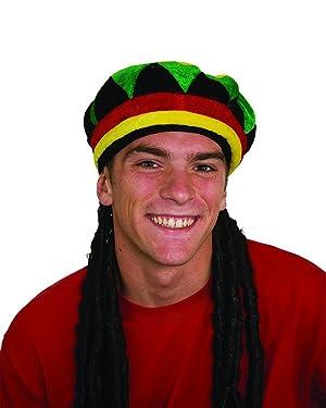Jacobson Hat Company Jamaican Rasta Hat with Dreadlocks, One Size