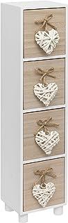 Maturi - Joyero de madera con cuatro cajones, diseño de corazón tejido, color marrón y blanco, 44,5 x 11 x 9,5 cm