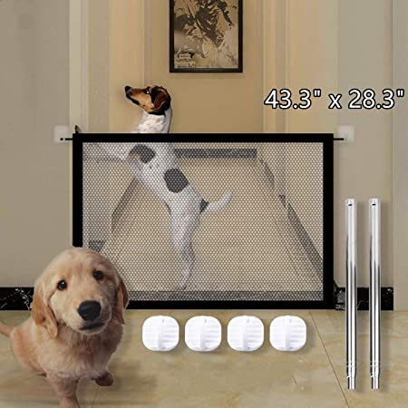Black Easy to Install Pet Safety Gate,Portable Folding Mesh Dog Gate AMOLEY Magic Pet Gate for Dogs Mesh Dog Gate 210 * 71 cm