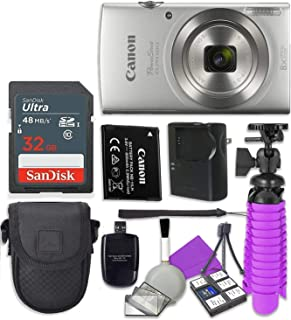 Canon PowerShot ELPH 180 (Silver) with 20.0 MP CCD Sensor and 8X Optical Zoom with 2X Sandisk 16 GB SD Memory Cards + Tripod + Camera Case + Card Reader + Cleaning Kit