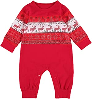 Newborn Baby Girl Boy Christmas Pajamas Long Sleeve Romper Jumpsuit Snowflakes Elk Bodysuit Xmas Clothes Outfit