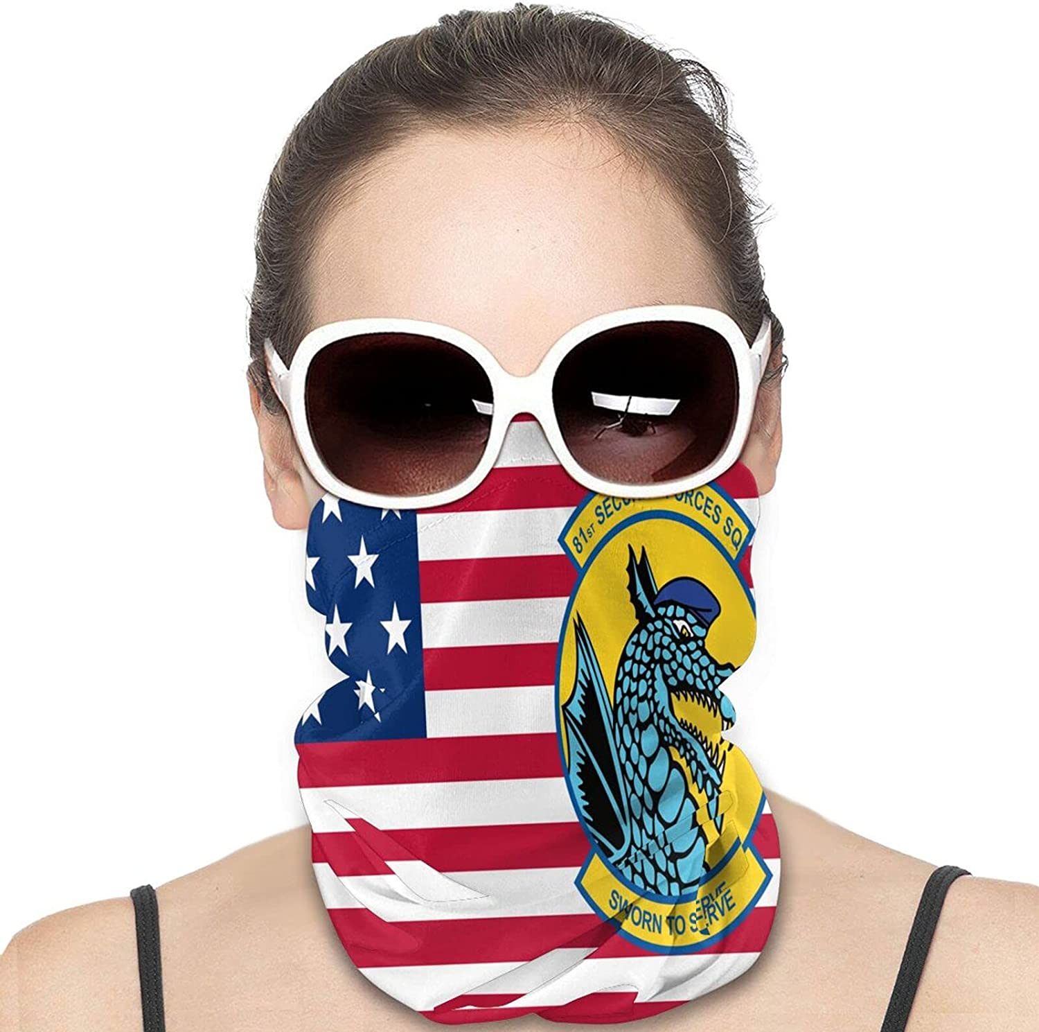 81st Security Forces Squad-ron Round Neck Gaiter Bandnas Face Cover Uv Protection Prevent bask in Ice Scarf Headbands Perfect for Motorcycle Cycling Running Festival Raves Outdoors