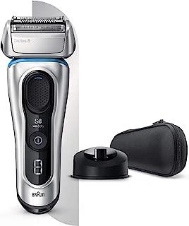 Braun 博朗 Series 8 8350s 电动剃须刀,充电站,织物盒,干湿两用电动剃须刀,精密修剪器,锂离子电池,银色