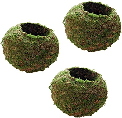 Pack of 2 12cm Diameter Moss Weaved Ball Shape Flower Pot Succulent Planter Basket Green
