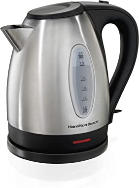 Hamilton Beach Electric Tea Kettle, Water Boiler & Heater, 1.7 L, Cordless, Auto-Shutoff and Boil-Dry Protection, Stainless S