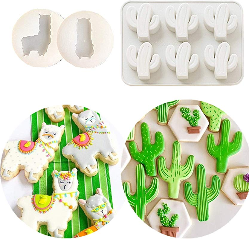 Set Of 3 JeVenis Llama And Cactus Cake Decoration Llama Cactus Fondant Mold Mexican Fiesta Cupcake Mold Sugar Craft Cupcake Cake Projects For Mexican Fiesta Theme Party Baby Shower Birthday Party