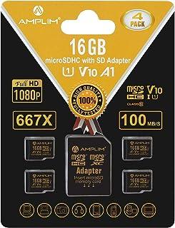4 Pack 16GB Micro SD SDHC Memory Card Plus Adapter (Class 10 U1 UHS-I V10 A1 MicroSDHC Pro) Amplim 4X 16 GB Ultra High Spe...