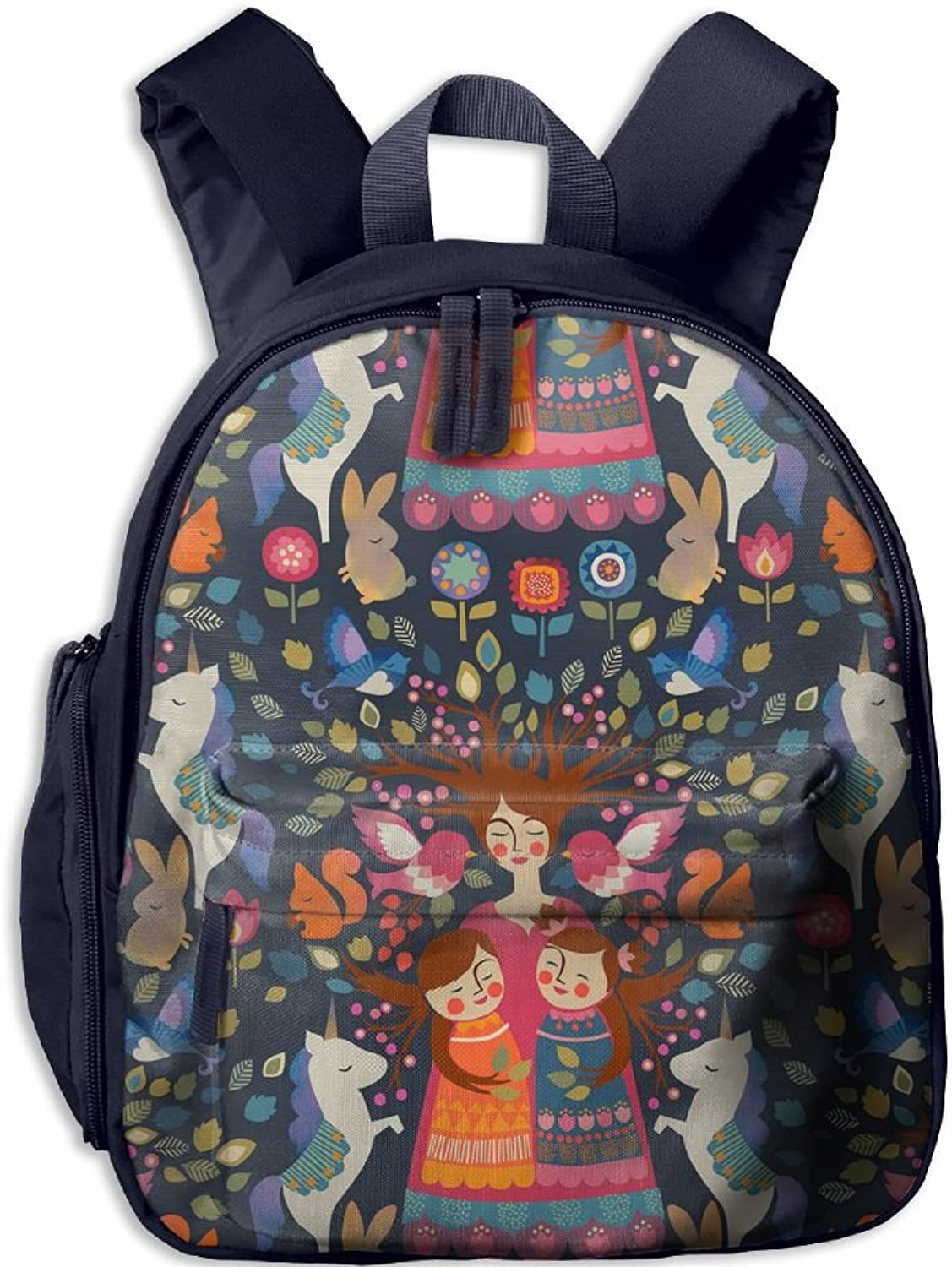 School Bag Whimsical Folk Art(2392) With Durable Travel Camping Backpack For Boys And Girls
