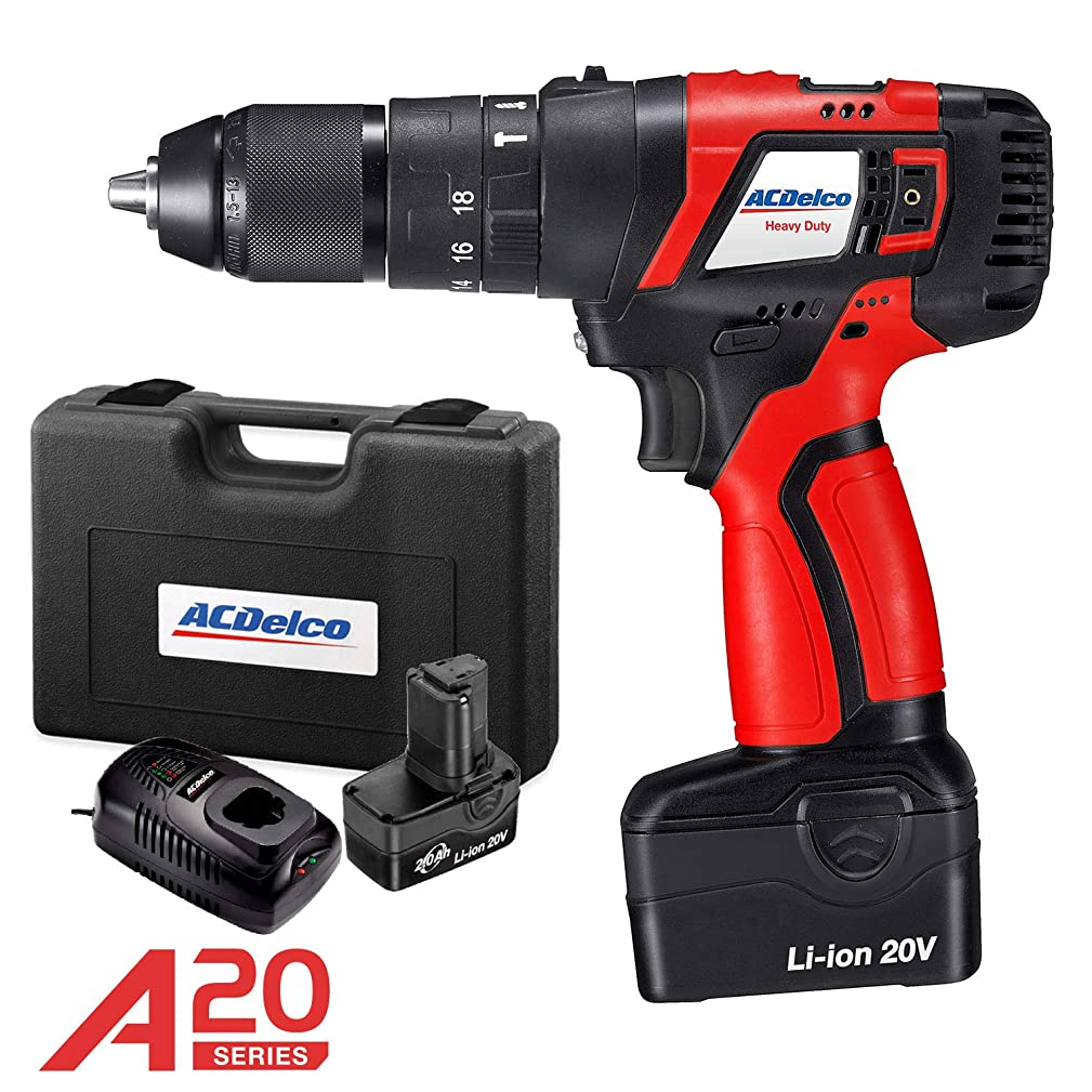 ACDelco 1/2 Inch 2,000PRM 2-Speed BRUSHLESS Hammer Drill, Cordless Li-ion 20V Max Compact Tool kit with Charger, 2 Batteries, and Carrying Case, A20 Series – ARK20129