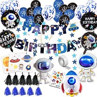 59Pcs Space Birthday Party Supplies Happy Birthday Banner Cupcake Toppers Rocket Astronaut Balloons Universe Planet Themed...