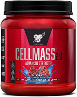 BSN CELLMASS 2.0 Post Workout Recovery with BCAA, Creatine, & Glutamine - Keto Friendly - Blue Raz, (25 Servings)