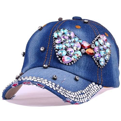 575e428406f CRUOXIBB Butterfly Baseball Cap Women Crystal Rhinestone Snapback Caps  Distressed Denim Jeans Hat