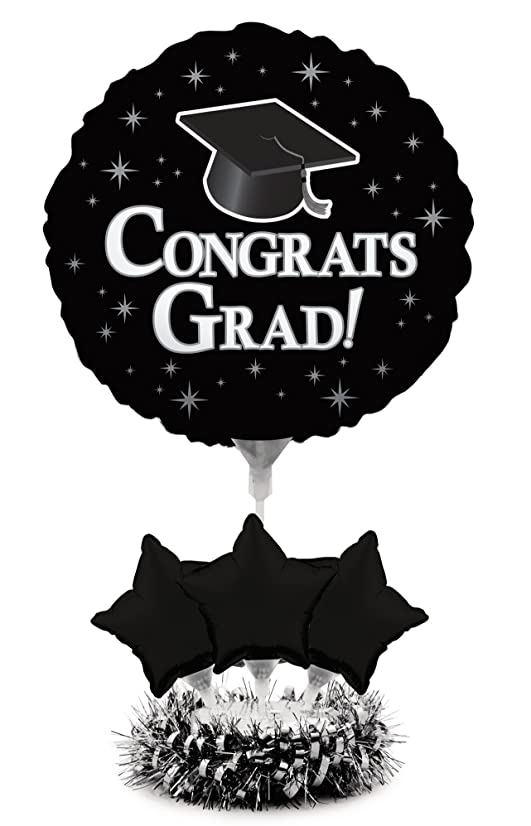 Creative Converting Air-Filled Balloon Centerpiece Kit Graduation, Black Velvet