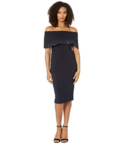 Adrianna Papell Off-the-Shoulder Cuff Cocktail Dress (Midnight) Women