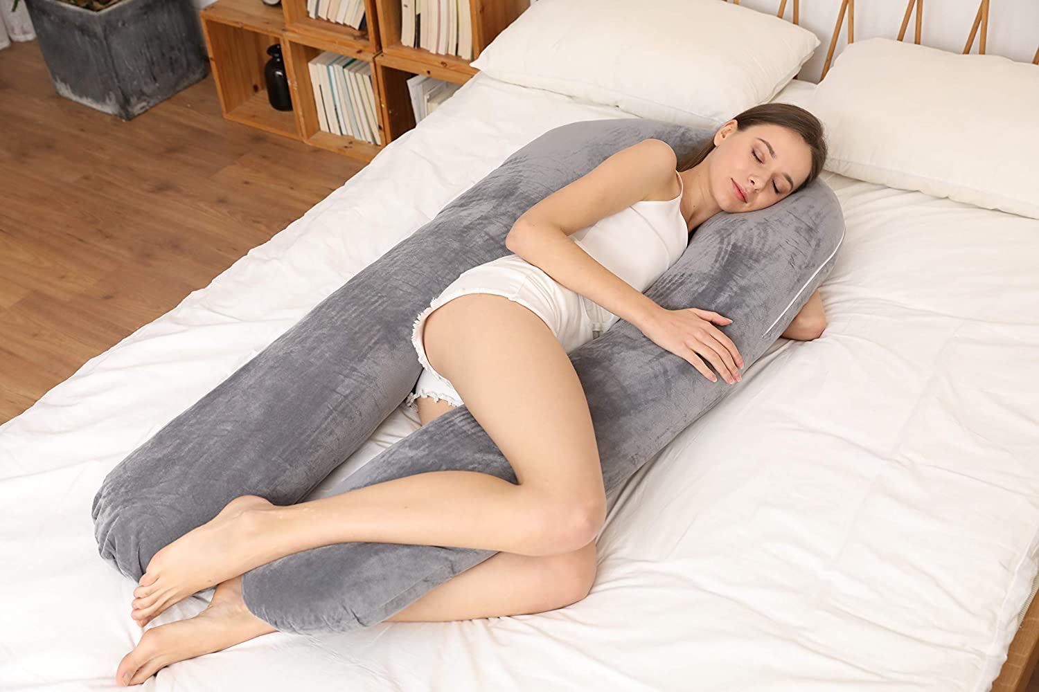 EVOLIVE Shaped Body Pillows Pregnancy Pillow with Removable Micrormink Cover (U-Shaped)