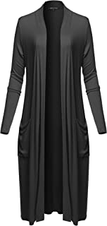 Made by Emma Women's Solid Kimono 3/4 Sleeves Wrap Side Slits Long Cardigan