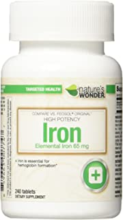 Nature's Wonder Iron (Ferrous Sulfate) 65mg Supplement, 240 Count