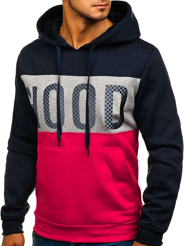 GNRSPTY Hombre Sudadera con Capucha Colores de Contraste Camiseta Manga Larga Oto/ño Hoodie Pullover Sweatshirt