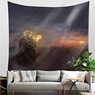 YOLIYANA Fantasy Useful Tapestry,General Leading His Army in War Infantry Knight Armour Battle Scene in Dark Night for Dormitory,27