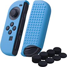 YoRHa Studded Silicone Cover Skin Case x 2 for Switch/NS/NX Joy-Con controller (blue) With Joy-Con thumb grips x 8