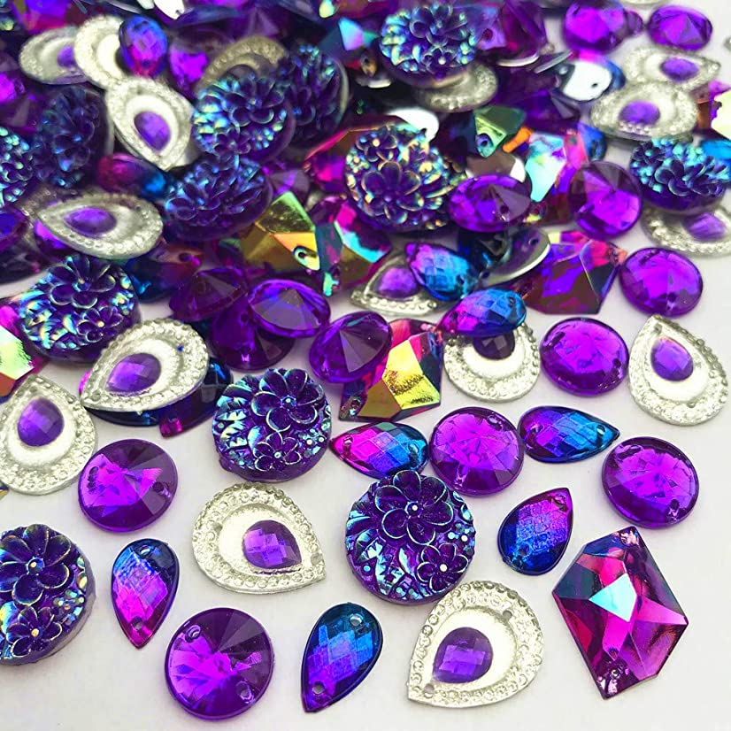 110 Pcs Purple AB Color Acrylic Sew On, Stick on Crystal Rhinestone Gems DIY Project for Wedding Dresses