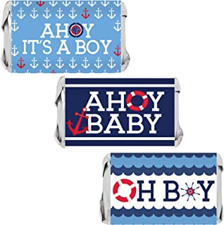 Ahoy It's a Boy Baby Shower Mini Candy Wrappers - 45 Stickers