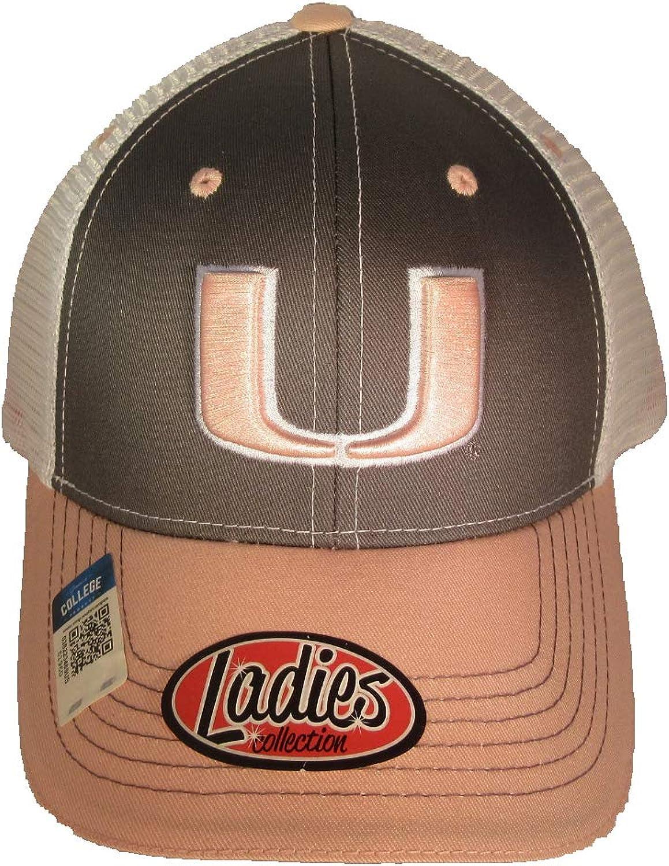 Collegiate Headwear Miami Hurricanes Ladies Mesh Back Baseball Cap. Pink