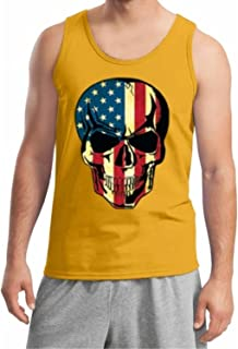 Lucky Ride American Flag Skull Patriotic Tank Top Gym Workout USA Tank top