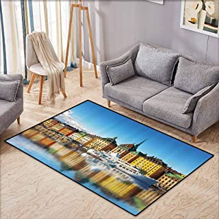 Kids Rug,Wanderlust Decor Collection,Summer Panorama of The Gamla Stan in Stockholm Sweden Yacht Ship by The Port Ocean Pattern,Anti-Static, Water-Repellent Rugs,3'11