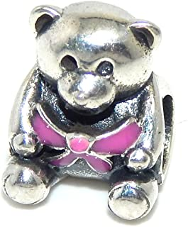 Solid 925 Sterling Silver Teddy Bear Holding a Pink Bow Charm Bead for European Snake Chain Bracelets