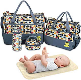 Diaper Bag Tote, Baby Bag for Baby Boy and Baby Girl, 5 Piece Set Baby Diaper Bag, for Mom and Dad (Navy Blue)