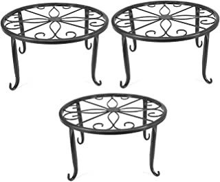 Indoor Metal Flower Pot Plant Stand Set of 3 Small Iron Potted Plant Stands(Black)