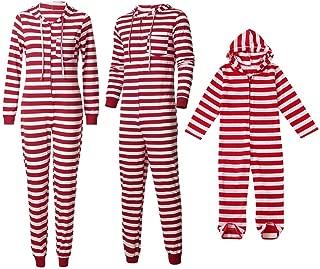 Kids Women Men Christmas Family Hooded Striped Long Sleeve Cotton Christmas Sleepwear Romper Parent-Child Family Nightwear