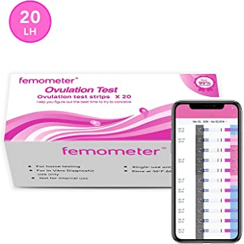 20 x Ovulation Test Strips Kit, Highly Sensitive and Accurate Results, Smart App (iOS & Android) Save All Test Results (3.5mm Width) by Femometer