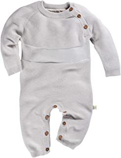 Hans Natur Bio Baby Strickoverall 100% Bio-Baumwolle kbA GOTS zertifiziert, Hellgrau Melange, 50/56
