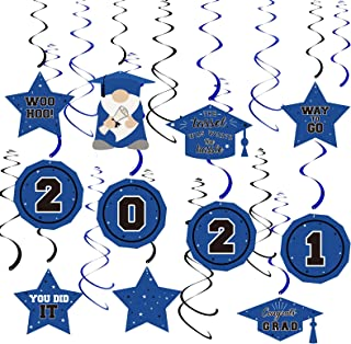 Dazonge Blue&Black 2021 Graduation Decorations kit , Assembled Class of 2021 Hanging Swirl for Graduation Party Supplies, ...
