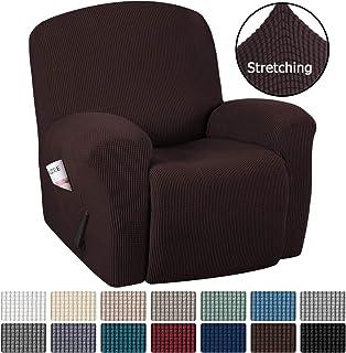 H.VERSAILTEX Stretch Recliner Slipcovers 1-Piece Durable Soft High Stretch Jacquard Sofa Furniture Cover Form Fit Stretch Stylish Recliner Cover/Protector (Recliner, Chocolate)