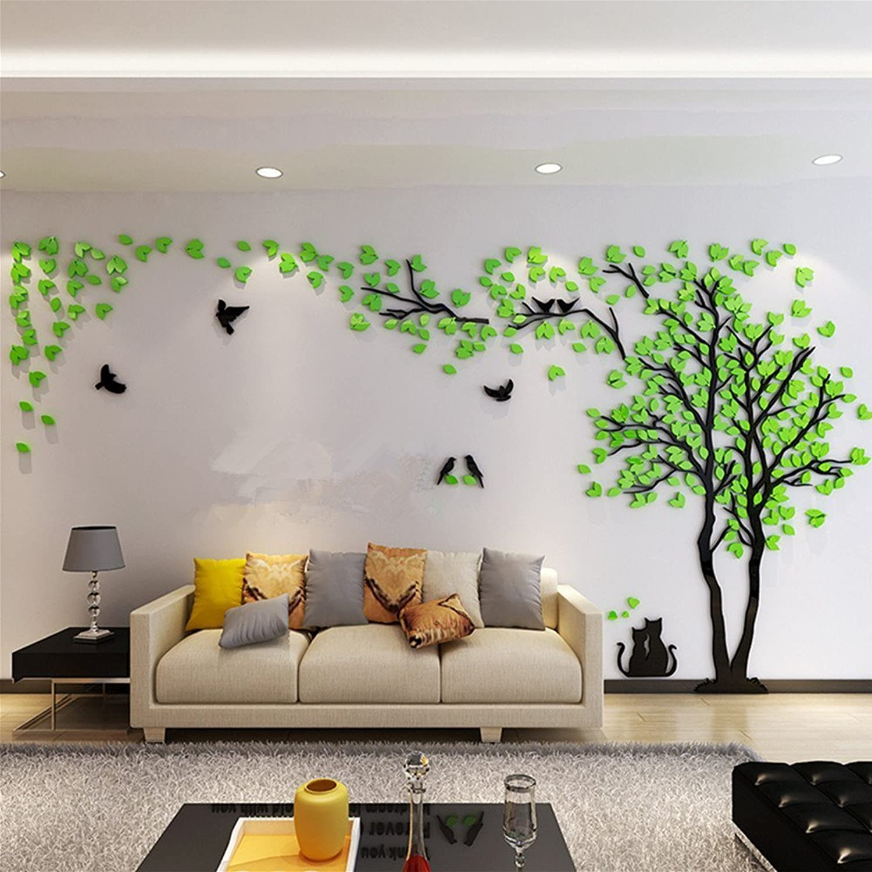 Woneart 3D DIY Riesig Paar Baum Wandtattoos Wandaufkleber Kristall Acryl Wandtattoo Aufkleber Vgel Vine Zweig Wandkunst Wohnzimmer Schlafzimmer Kinderzimmer Sticker (XXL, Grün, Left)