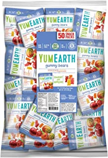 YumEarth Gluten Free Gummy Bears, Assorted Flavors, 0.7 Ounce Snack Packs, 50 pack - Allergy Friendly, Non GMO (Packaging ...